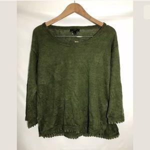 J.Crew Linen Sweater Small Pom Trim Side Slits